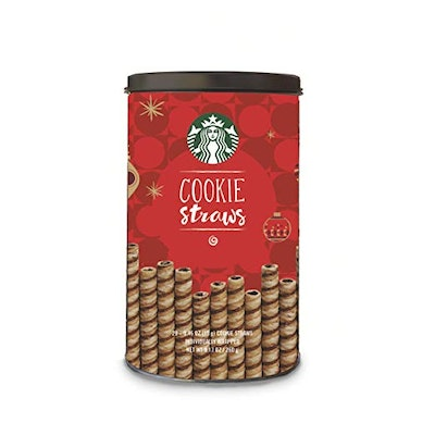 Starbucks Cookie Straws, Holiday Tin, 6 cans of 20