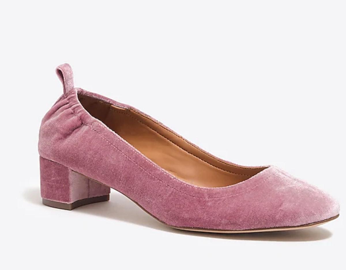Anya velvet block heels