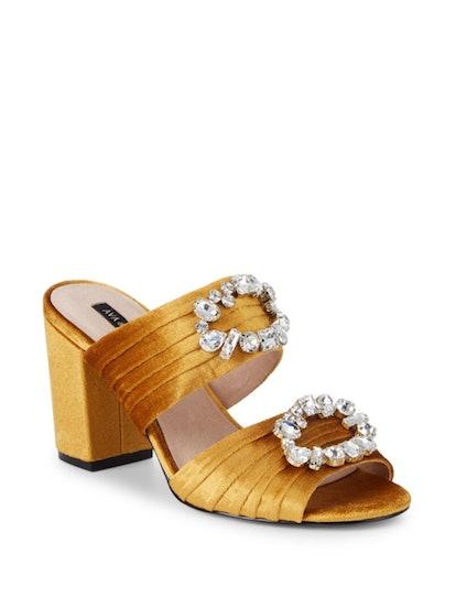 AVA & AIDEN Perla Velvet Embellished Block-Heel Sandals