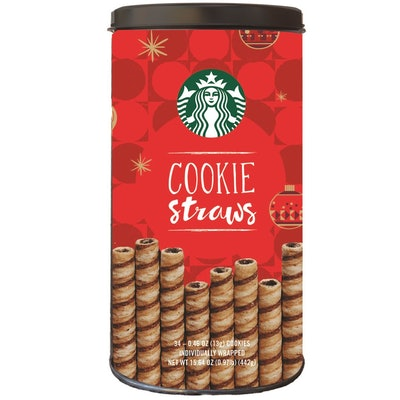 Starbucks Wrapped Cookie Straws Tin, 34 count can