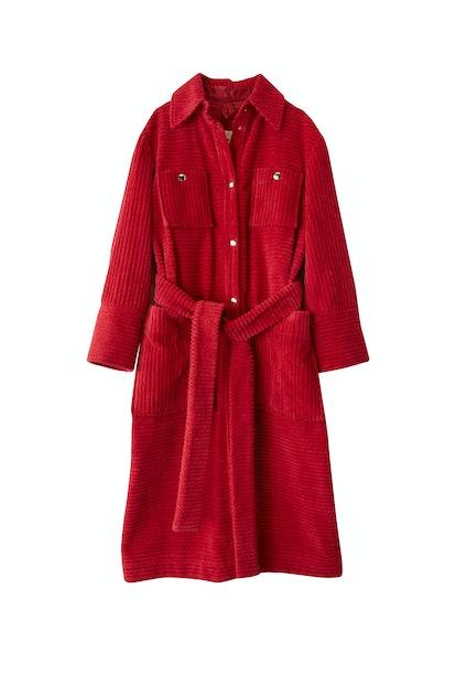 Corduroy Coat in Fuchsia Pink