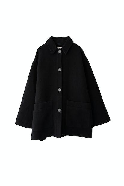 Short Cocoon Coat in Black