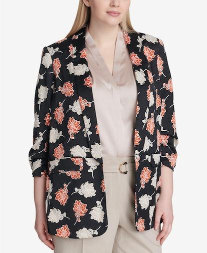 Floral Print Ruched-Sleeve Jacket