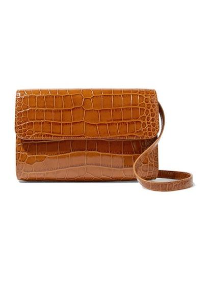 Cross-Over Croc-Effect Leather Shoulder Bag