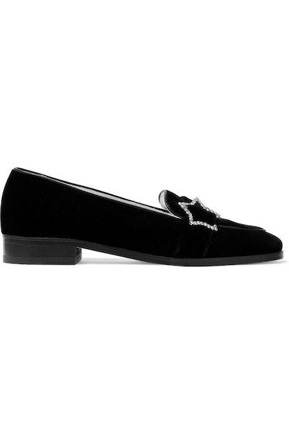 ALEXACHUNG Crystal-embellished velvet loafers