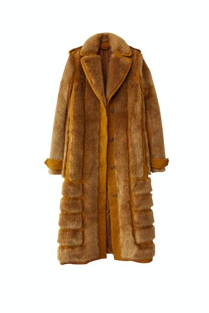 Faux Fur Coat in Saffron Orange