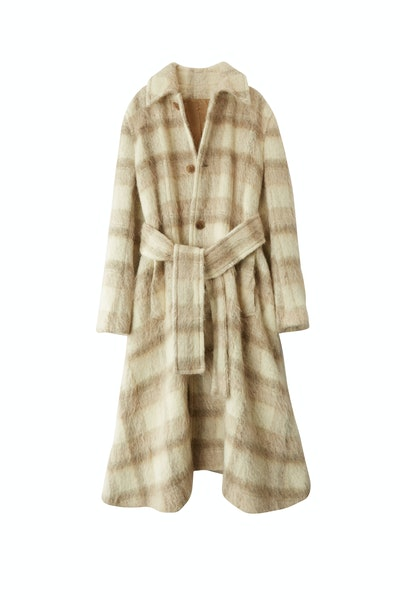 Checked Coat in White and Grey