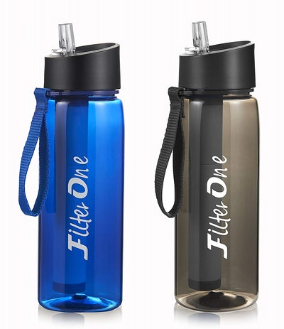 FilterOne Personal Filter Water Bottle & Built-In Compass