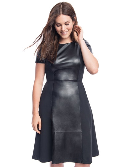 Faux Leather and Ponte Mix Dress