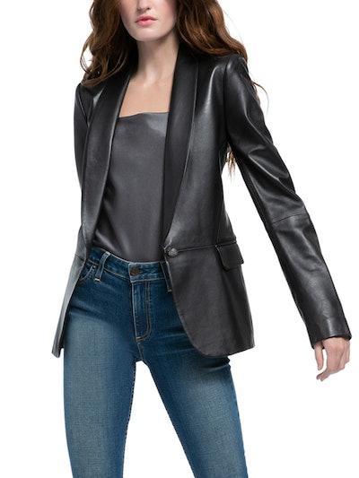 Macey Leather Shawl Collar Blazer