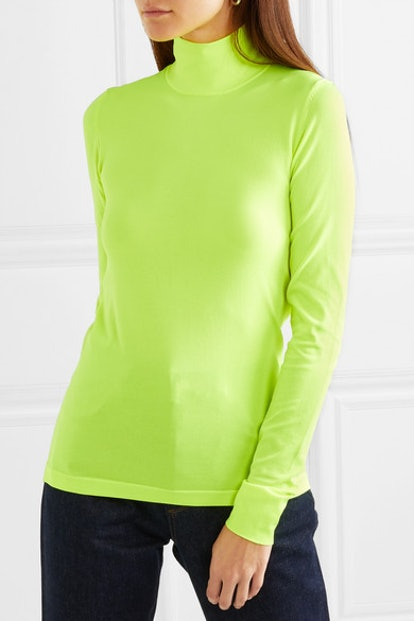 Neon Stretch-Knit Turtleneck Top