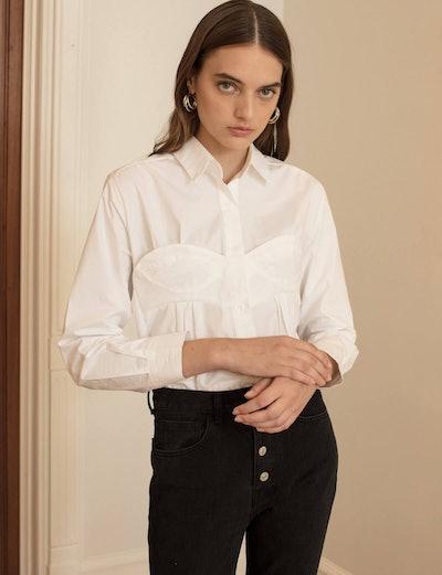 Pixie Market White Bustier Shirt