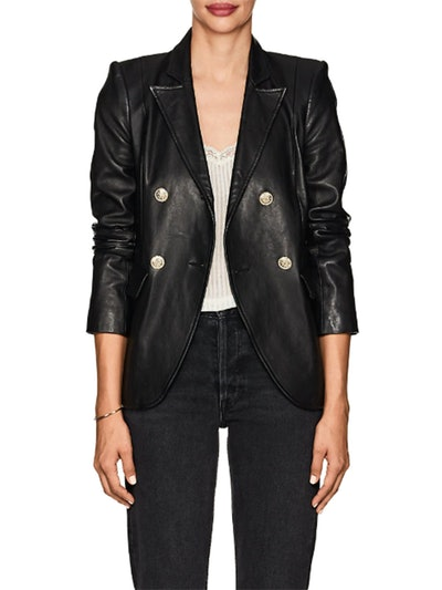 Patton Leather Double-Breasted Blazer