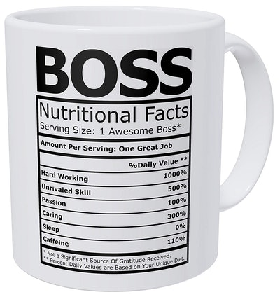 Wampumtuk Boss Nutritional Facts Funny Coffee Mug