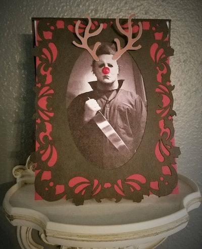 Holiday Greeting Card Michael Myers Halloween Reindeer