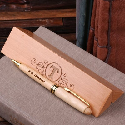 Personalized Wood Desktop Pen Set Engraved and Monogrammed Corporate Promotional Gift