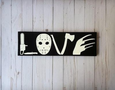 Horror Movie Love Wooden Sign