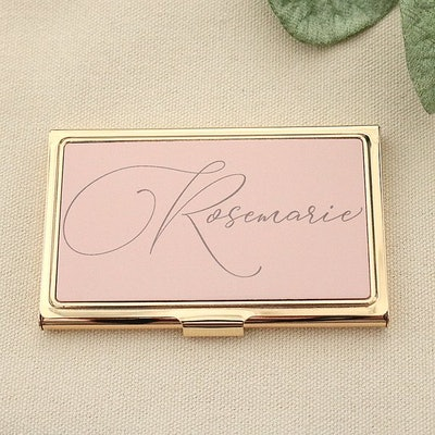 Personalized Gold Business Card Holder