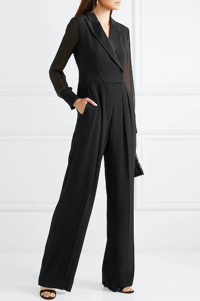 Silk Chiffon-Paneled Crepe Jumpsuit