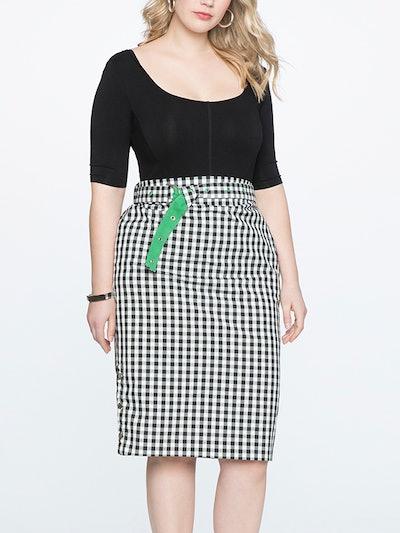 Snap Detail Gingham Skirt