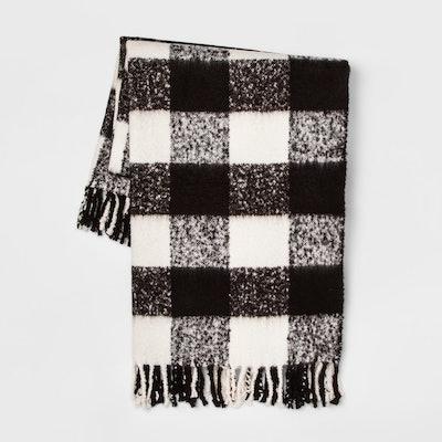 "60""x50"" Faux Mohair Buffalo Check Throw Blanket Black/Cream - Threshold"