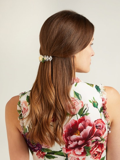 Rose And Crystal-Embellished Hair Slide