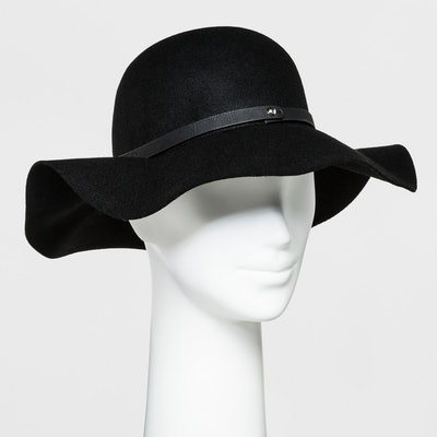 A New Day Women's Faux Leather Band Felt Floppy Hat