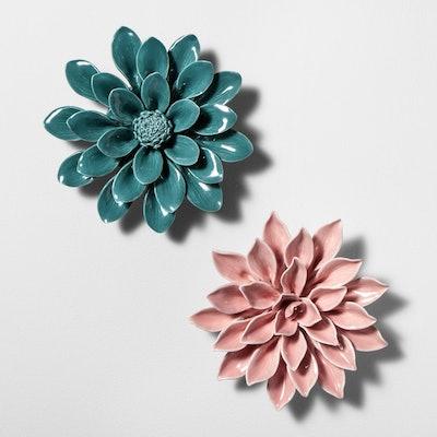 Porcelain Flower Decorative Wall Sculpture - Opalhouse