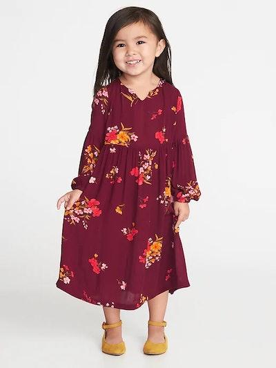 Balloon-Sleeve Midi Dress for Toddler Girls