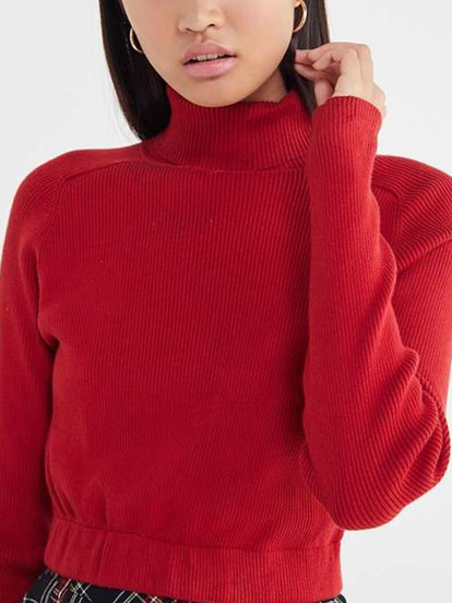 Recycled Cropped Turtleneck Sweater