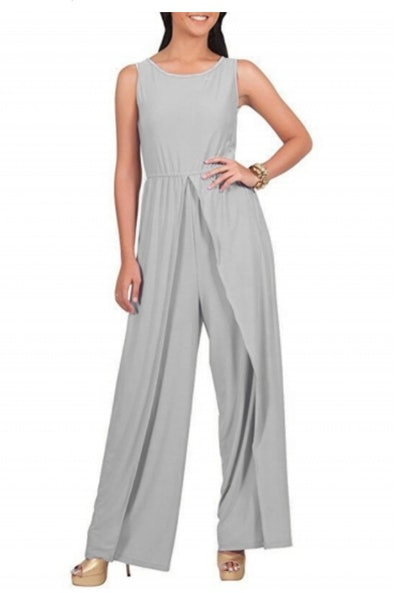 Women's Fashion Sleeveless Solid Wide Leg Loose Slit Jumpsuit