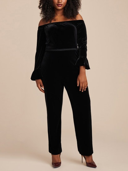 Stretch Velvet Off Shoulder Jumpsuit