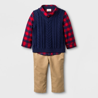 Collared Button-Down Flannel Bodysuit, Sweater Vest, & Twill Pants