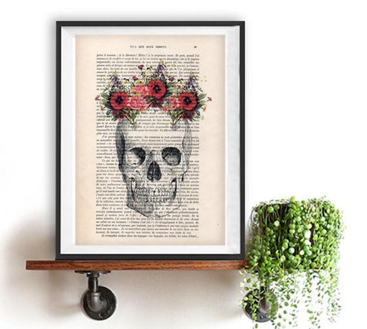 Skull Flower Print