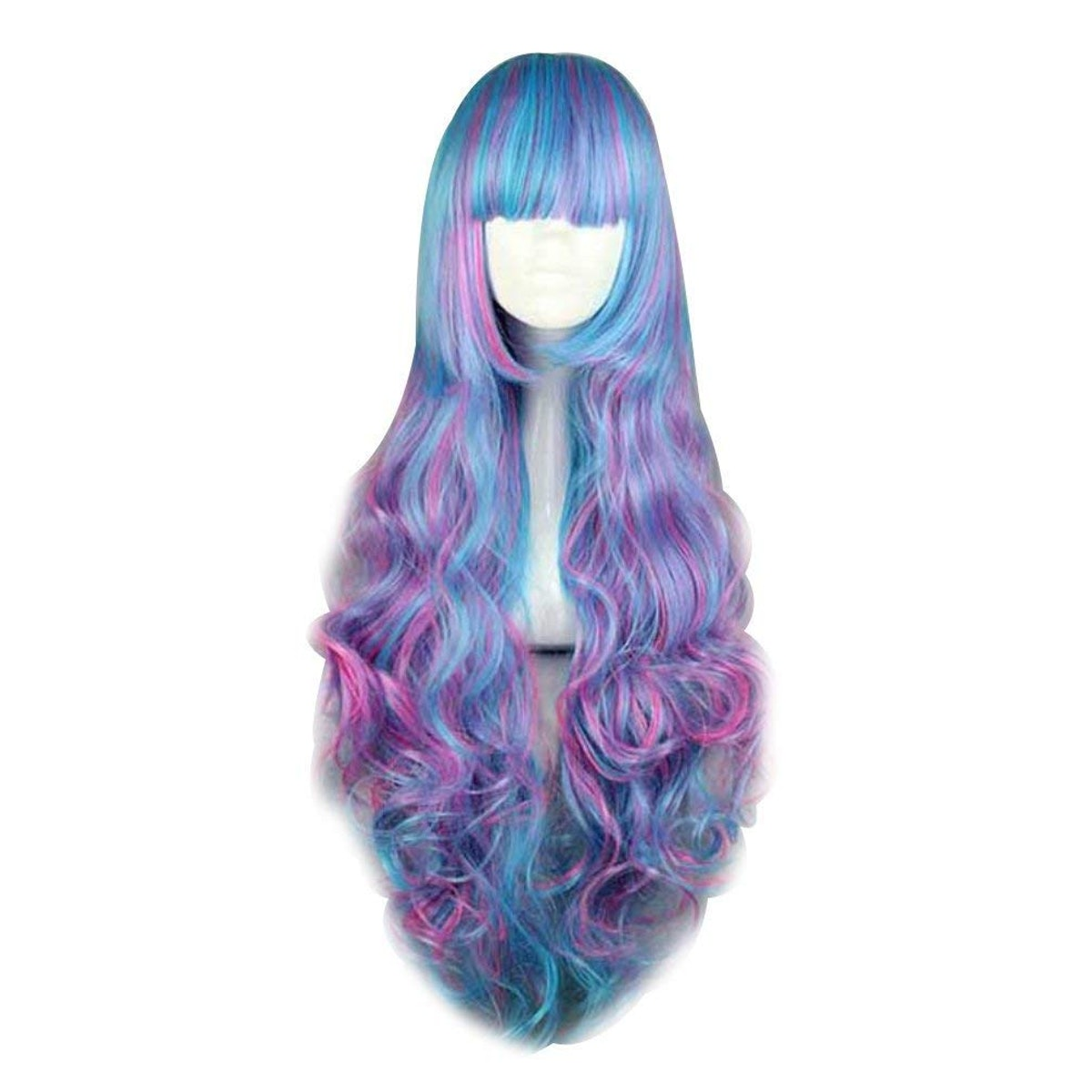 Cool Blue Mixed Magenta 28 Inches Long Curly Lolita Cosplay Full Wig
