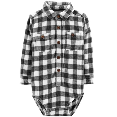 Flannel Plaid Button Down Bodysuit