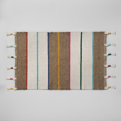 Opalhouse Striped Natural Braided Jute Tasseled Accent Rug