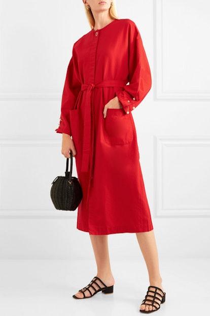 Faux Pearl-Embellished Cotton-Poplin Dress