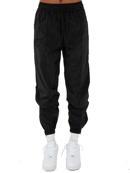Vented Carbon Black Nylon Trackpants