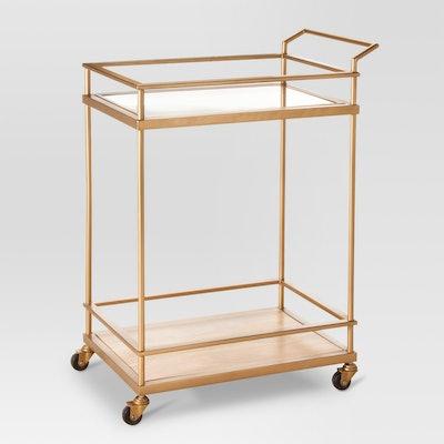 Threshold™ Wood & Glass Gold Finish Bar Cart