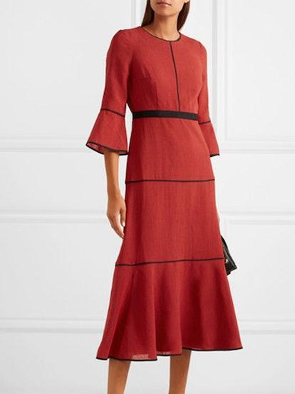 Grosgrain-Trimmed Voile Midi Dress