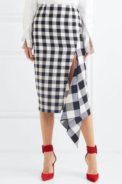 Asymmetric Gingham Wool And Cotton-Blend Midi Skirt