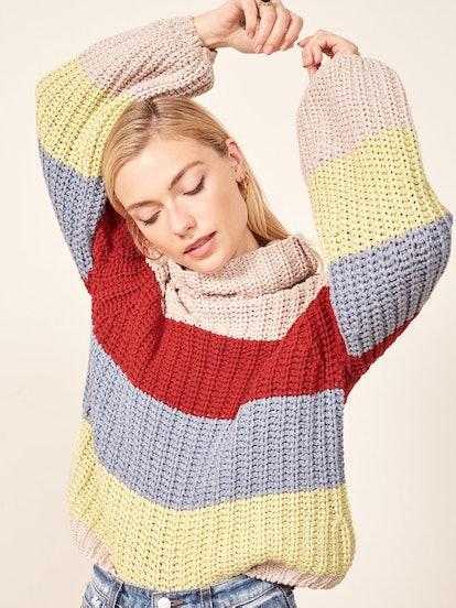La Ligne X Reformation Color-Me-Happy Sweater in Bright Stripe