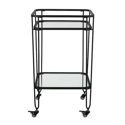 """Saracina Home 35"""" Metal And Glass Serving Cart"""