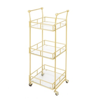 Silverwood Collier 3 Tier Square Bar Cart Gold