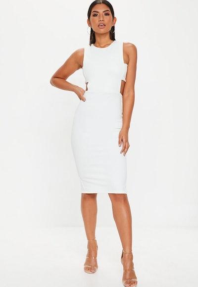 White Sleeveless Cut Out Midi Side Dress