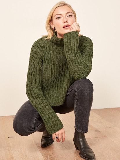 La Ligne X Reformation Never-Let-Me-Go Sweater in Olive