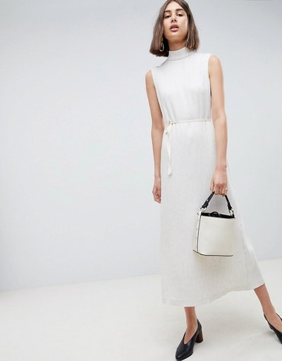 ASOS WHITE Pleated Midaxi Dress With Pleated Detail