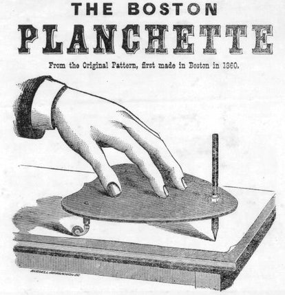 An old advertisement for a planchette, one of the tools used in the Ouija board's history.