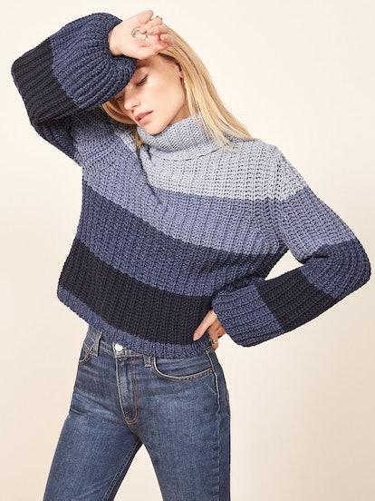 La Ligne X Reformation Color-Me-Happy Sweater in Blue Stripe